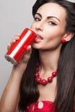 Drinking soda model stock photo
