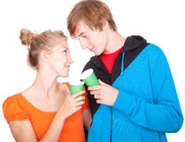 Drinking soda young loving couple Royalty Free Stock Photos