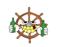 Drinking steering wheel illustration Stock Images