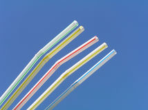 Drinking straw. Five drinking straw against the blue sky royalty free stock images