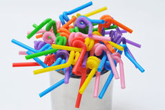 Drinking straw. Colorful drinking straw on white Stock Images