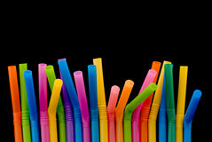 Drinking Straw. Isolated on black background Stock Photo