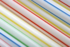 Drinking Straw Abstract. Abstract pattern of colored coloured diagonal drinking straws Stock Photos