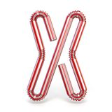 Drinking straw font Letter X 3D. Render illustration on white background stock illustration