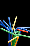 Drinking Straw On Black Stock Photos