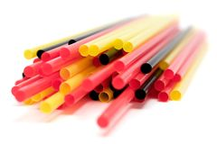 Drinking-Straws. Colorful drinking-straws. Shallow depth of field. White background Stock Images