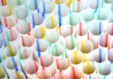 Drinking straws. Closeup of colored drinking straws royalty free stock photos