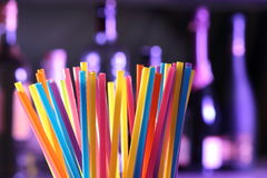 Drinking straws on a bar Stock Image