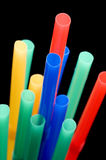 Drinking straws on black close up Royalty Free Stock Images