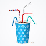 Drinking Straws and Blue Cup. Vector Stock Photography