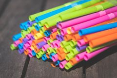 Drinking Straws Closeup, Colorful Plastic Straw Macro Royalty Free Stock Image