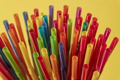 Drinking straws colorful coming together royalty free stock photo