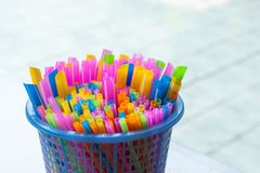 Drinking straws colorful coming together. stock images