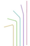 Drinking Straws. Colourful bendy straws isolated over white background Royalty Free Stock Photos