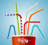 Drinking Straws and Cup Party Placard or Flyer. Vector Stock Photos