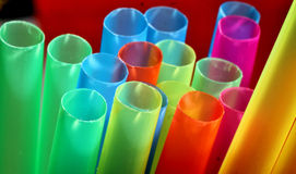 Drinking straws. Detail of plastic colorful transparent drinking straws Royalty Free Stock Photos