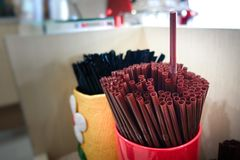 Drinking straws. On he table Royalty Free Stock Image