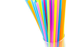 Drinking straws in glass isolated on white background Stock Images