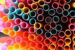 Drinking straws. Macro abstract image with beautiful multi-colored background. Royalty Free Stock Images