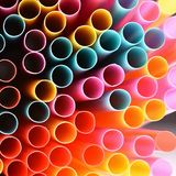 Drinking straws. Macro abstract image with beautiful multi-colored background. Stock Images