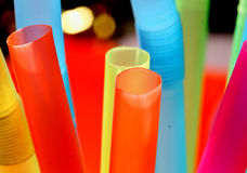 Drinking straws. Plastic transparent drinking straws in vibrant colors Royalty Free Stock Image