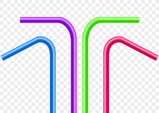 Drinking straws set. Vector colorful pipe tube plastic straw for juice, cocktail  Stock Photo