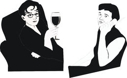 Drinking and talking. Illustration with drinking and talking women Stock Images