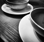 Drinking tea. Artistic look in black and white. Royalty Free Stock Photo