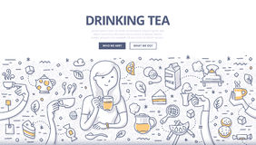 Drinking Tea Doodle Concept Stock Photography