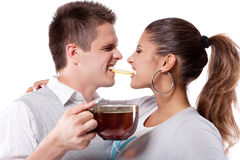 Drinking tea man and woman Royalty Free Stock Image