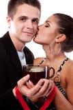 Drinking tea man and woman Stock Photos