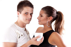 Drinking tea man and woman Stock Photography