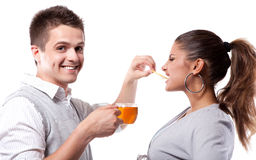 Drinking tea man and woman Royalty Free Stock Photo