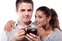 Drinking tea man and woman Stock Images