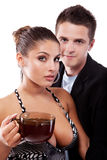 Drinking tea man and woman Stock Image
