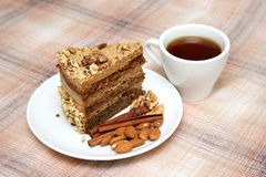 Drinking tea with nut pie Royalty Free Stock Photography