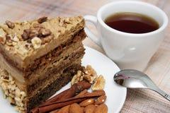 Drinking tea with nut pie Stock Image