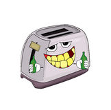 Drinking toaster cartoon Stock Photos