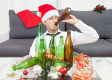 Drinking too much during Christmas time Royalty Free Stock Photography
