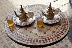 Drinking traditional tea for two in Marrakesh. Morocco,April 1,2012 stock photo
