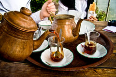 Drinking Traditional Turkish Tea With Friends Stock Photo