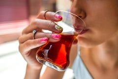 Drinking turkish tea Stock Photo