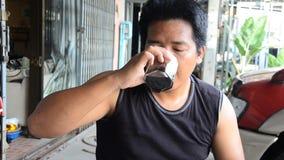 Drinking vietnam hot coffee stock footage
