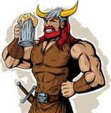 Drinking Viking. Cartoon drawing of a drinking viking stock illustration