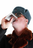 Drinking Vodka From Hip-flask Royalty Free Stock Photo