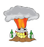 Drinking volcano cartoon Stock Image