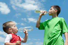 Drinking water brothers Royalty Free Stock Photo