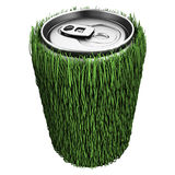 Drinking water in can with grass Stock Images