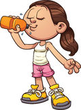 Drinking water. Cartoon girl drinking water. Vector clip art illustration with simple gradients. All in a single layer Royalty Free Stock Photo