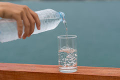 Drinking water  cool drink  hot. Refrshment drinking water cool drink Stock Photo